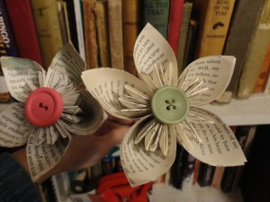 These flowers are made of old books - I found them at Concord Art's Market
