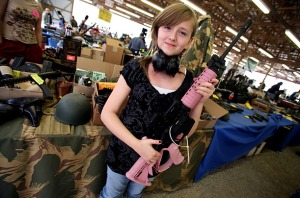 girl with pink rifle