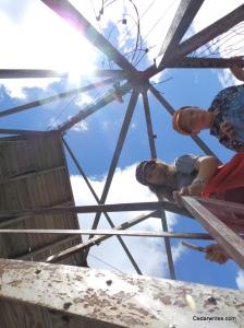 Climbing the Fire Tower on Belknap Mountain