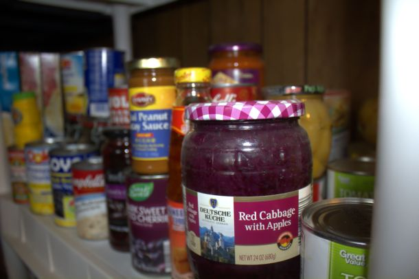 Pantry Mundo: flash, some ambient light from window to left of perspective.