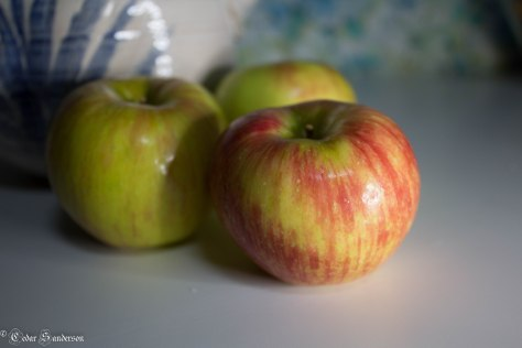 Stripes on this apple almost look like paint strokes.